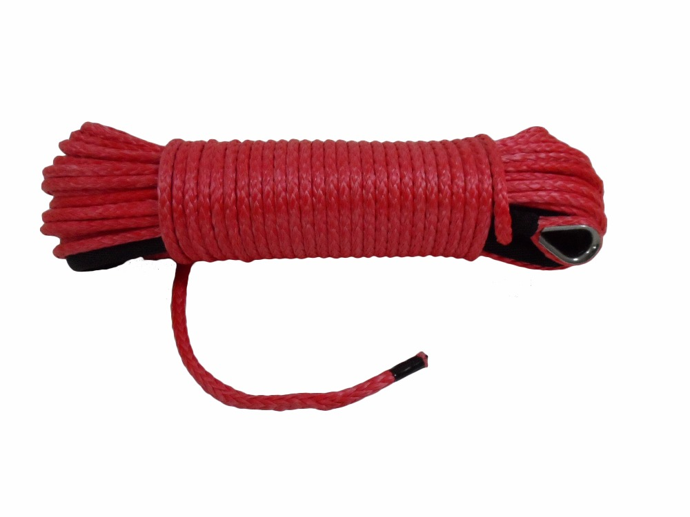 [해외]빨간색 6mm * 30m 합성 로프, ATV 윈치 라인, 보트 윈치 케이블, 합성 윈치 케이블