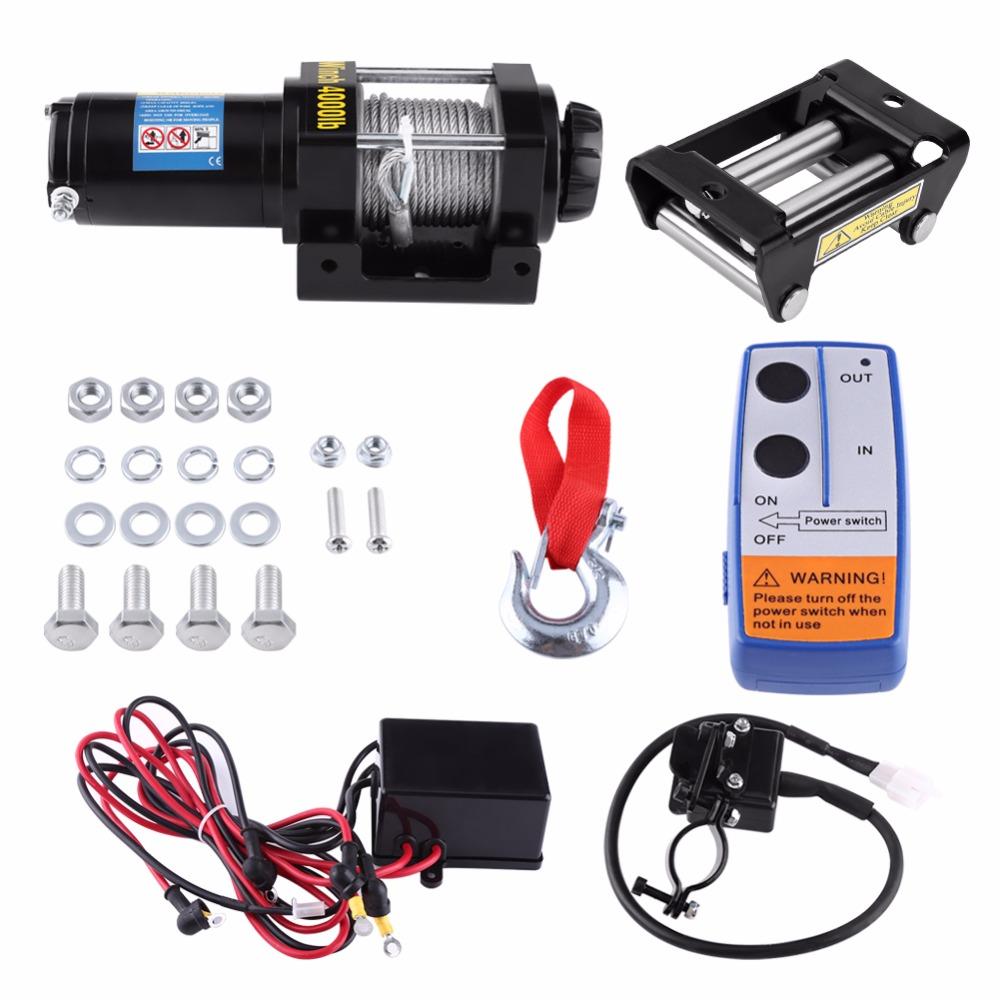 [해외]해외 DE ES 자동차 DC 12V 원격 제어 4000lbs 전기 복구 윈 치 키트 ATV 트레일러 트럭 15m 높은 인장 철강 케이블/Oversea DE ES Car DC 12V Remote Control 4000lbs Electric Recovery Winc