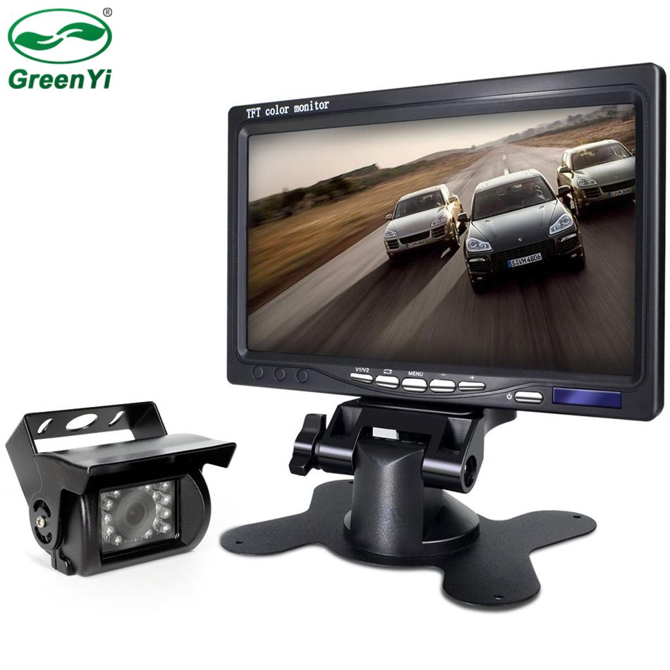 [해외]GreenYi 차량 7 및 LCD 주차 MonitorCar IR LED 역 후면보기 카메라 4 핀 비디오 버스 밴 트럭 용 1020M 케이블/GreenYi Vehicle 7& LCD Parking MonitorCar IR LED Reverse Rear View