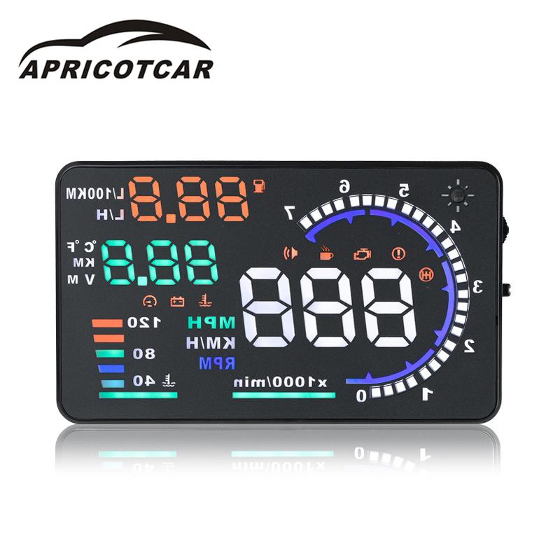 [해외]5.5 인치 화면 자동차 HUD A8 헤드 Up DisplayOBD2 속도 수온 경보 자동차 디스플레이 LCD 디지털 방식으로 바람막이 유리 영사기/5.5 Inch Screen Car HUD A8 Head Up DisplayOBD2 Speed Water Temp