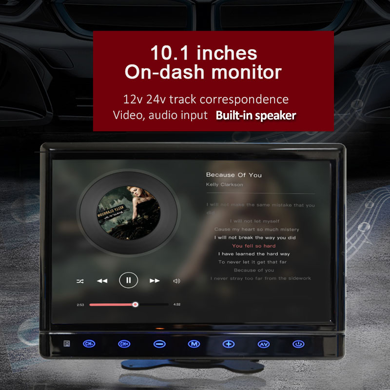 [해외]WOWAUTO 10.1 인치 자동차 디스플레이 내장 스피커 HDMI PC USB TV 용 스마트 폰 대시 모니터 12 / 24V/WOWAUTO 10.1 Inch Car Display Built-in Speaker HDMI USB For PC TV Smartpho