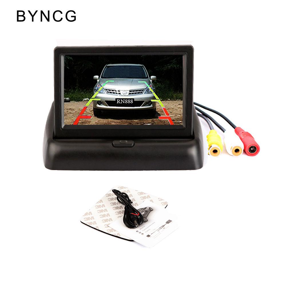 [해외]BYNCG 4.3 & HD Foldable Car Rear View 모니터 트럭 차량 백업용 컬러 LCD TFT 디스플레이 화면 반전 후면 카메라/BYNCG 4.3&  HD Foldable Car Rear View Monitor Reversing Colo