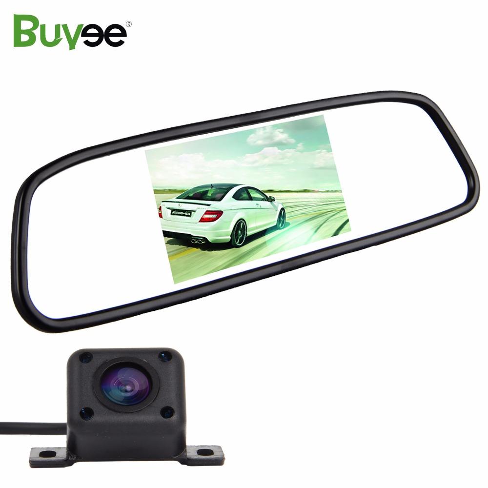 [해외]Buyee 4.3 인치 TFT LCD 자동차 미러 모니터 + 170도 와이드 앵글 HD IR 자동차 역방향 후면보기 백업 카메라 자동 주차 시스템/Buyee 4.3 inch TFT LCD Car Mirror Monitor + 170 Degree Wide Angl