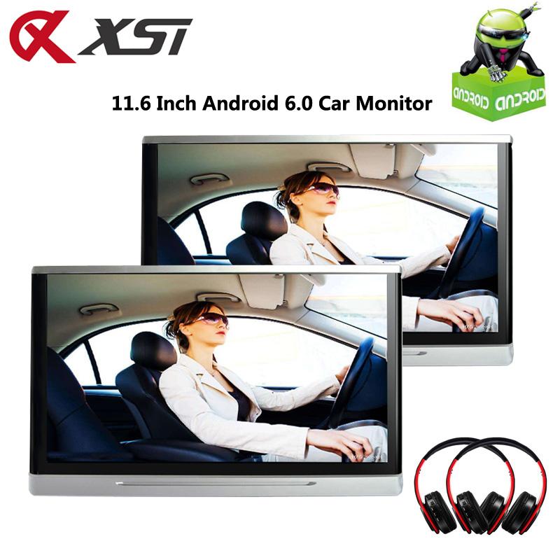 [해외]XST 2PCS 11.6 인치? ? ???? ?? 6.0 차량용 헤드 레스트 모니터 터치 스크린 1080P 비디오 와이파이 / USB / SD / 블루투스 / FM 송신기 / 스피커 / 게임/XST 2PCS 11.6 Inch 안드로이드 6.0 Car Headre