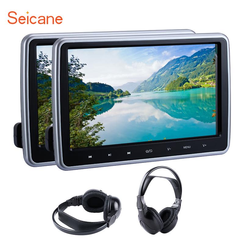 [해외]Seicane 2pcs 10.1 & 1024 * 600 모니터 터치 헤드 레스트 자동차 DVD 플레이어 MP5 IR FM Transmitter32 비트 게임 컨트롤러 이어폰/Seicane 2pcs 10.1& 1024*600 Monitor Touch Hea