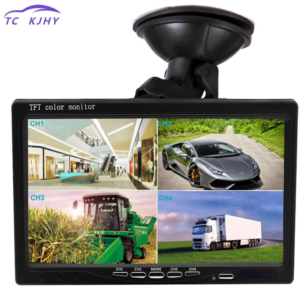 [해외]2018 7 인치 분할 화면 쿼드 모니터 4ch 비디오 입력 앞 유리 스타일 주차 대시 보드 자동차 후면보기 카메라 자동차 스타일링/2018 7 Inch Split Screen Quad Monitor 4ch Video Input Windshield Style P
