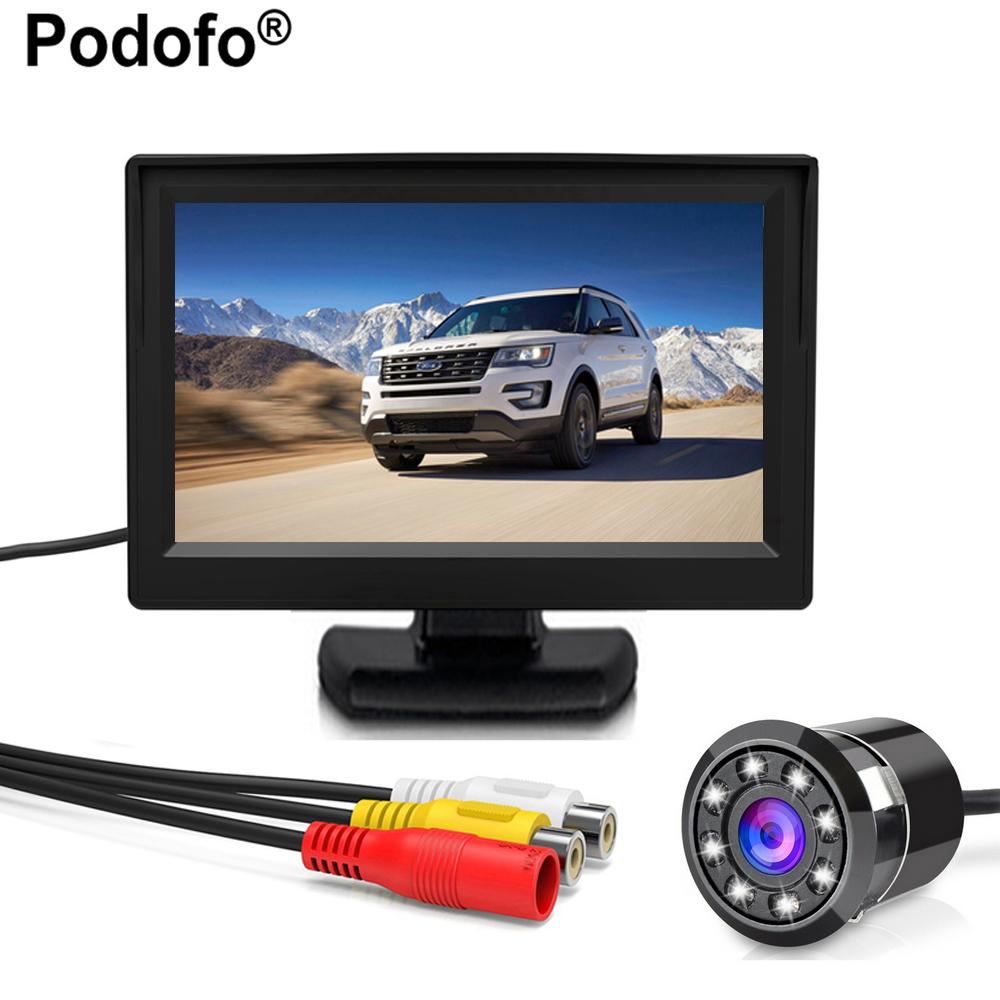 [해외]Podofo 4.3 & Auto TFT LCD 자동차 후면보기 주차 모니터 + 8 LED 야간 시계 CCD 후면보기 CameraCar 모니터 자동차 스타일링/Podofo 4.3& Auto TFT LCD Car Rear View Parking Monitor