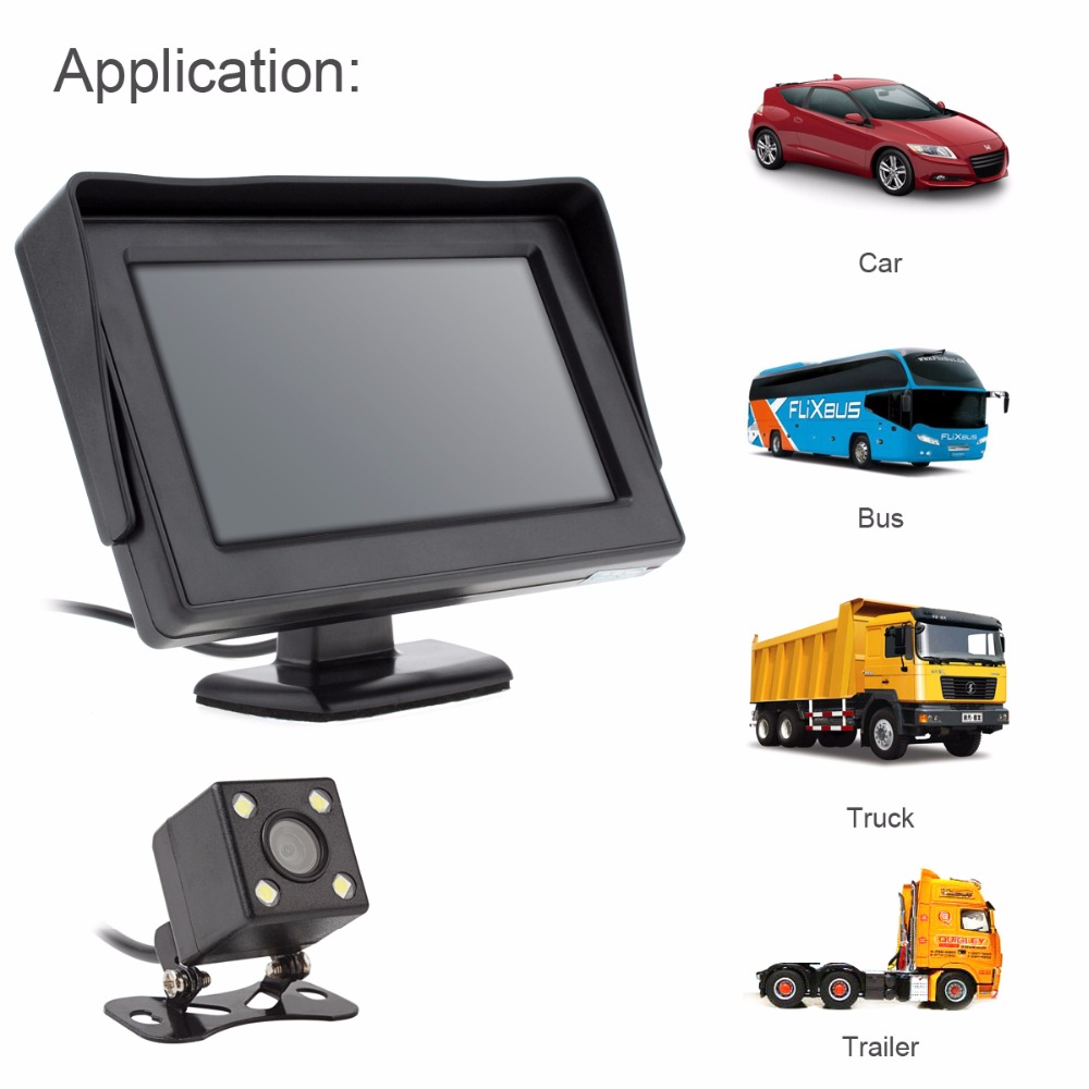 [해외]4.3 && HD 480 x 234 2 채널 비디오 입력 TFT-LCD 자동차 후면보기 모니터 + 170도 광각 렌즈 야간 투시경 카메라/4.3&& HD 480 x 234 2-Channel Video Input TFT-LCD Car Rear Vie