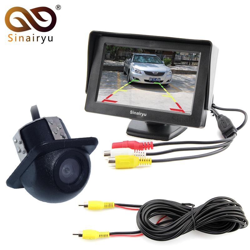 [해외]Sinairyu 4.3 인치 디지털 TFT LCD 자동차 주차 미러 모니터 + 자동 주차 지원 사이드 카메라 CCD 자동차 후면보기 카메라/Sinairyu 4.3 inch Digital TFT LCD Car Parking Mirror Monitor + Auto