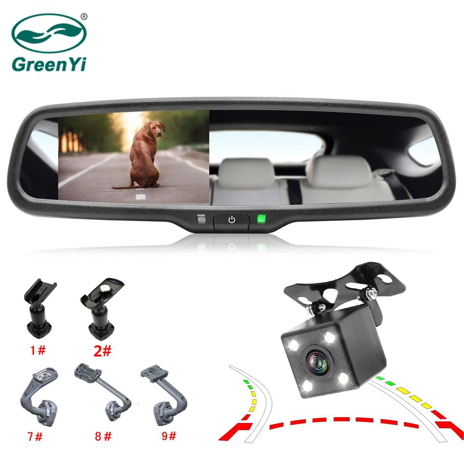 [해외]GreenYi 4.3 & Rear View 오리지널 브래킷 + 야간 투시경 백업 TFT LCD 미러 모니터 카메라 이동 가이드 라인/GreenYi 4.3& Rear View TFT Mirror Monitor w/ Original Bracket + Nigh