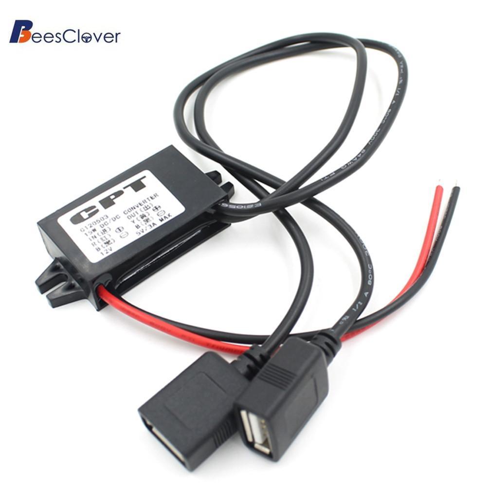 [해외]BEESCLOVER DC 컨버터 12V 5V 듀얼 USB 케이블 커넥터 전원 공급 장치 모듈 PowerAdapterFeatures 듀얼 USB 포트 디자인 r18/BEESCLOVER DC Converter 12V To 5V Dual USB Cable Connec