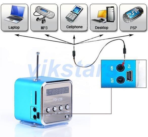 [해외]마이크로 SD TF USB 휴대용 스피커 인터넷 라디오, 휴대 전화 진동 PC 음악 플레이어, 다기능 미니 스피커 V26SP/micro SD TF USB portable speakers internet radio,mobile phone vibration pc m