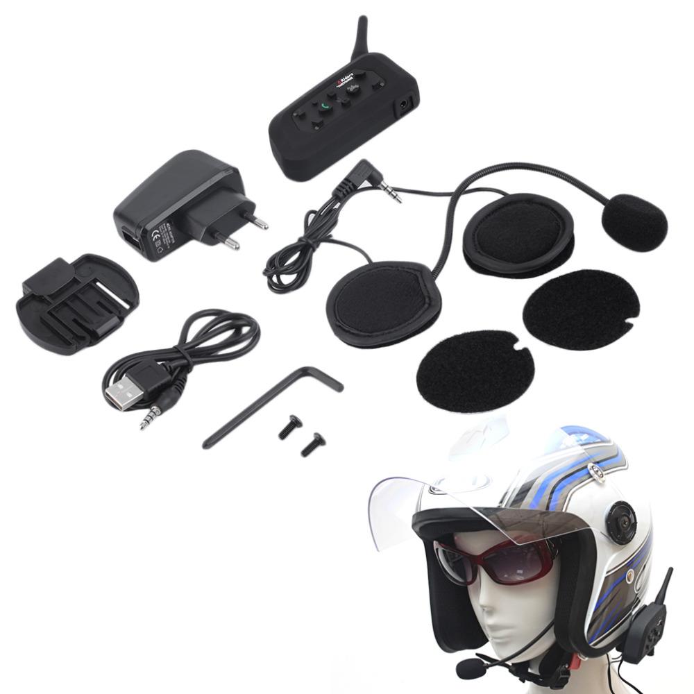 [해외]새로운 V6 헬멧 인터 콤 6 라이더 1200M 오토바이 블루투스 인터폰 헤드셋 워키 토키 헬멧 BT 인터폰 EU 플러그 핫/New V6 Helmet Intercom 6 Riders 1200M Motorcycle Bluetooth Intercom Headset