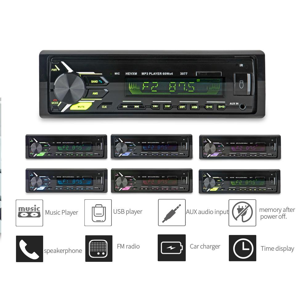 [해외]자동차 블루투스 오토 라디오 스테레오 카 라디오 1 Din V3.0 FM Aux 입력 수신기 자동차 오디오 SD USB MP3 MMC WMA 라디오 카 오토 튜리/Car Bluetooth Autoradio Stereo Car Radio 1 Din V3.0 FM