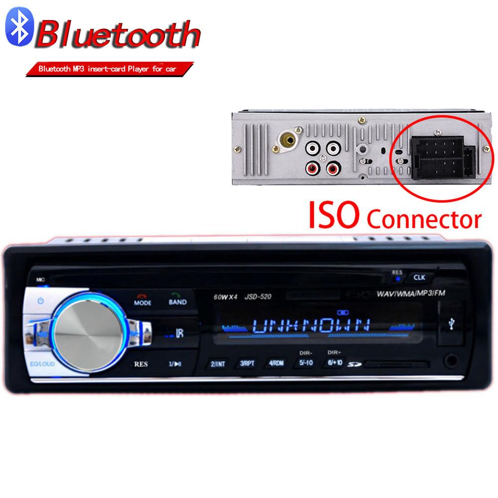 [해외]Autoradio ISO 블루투스 차량용 스테레오 인 - 대시 1 Din Car Radio JSD520 FM 보조 입력 수신기 SD USB MP3 MMC WMA 12V 차량용 오디오/Autoradio ISO Bluetooth Car Stereo In-dash 1