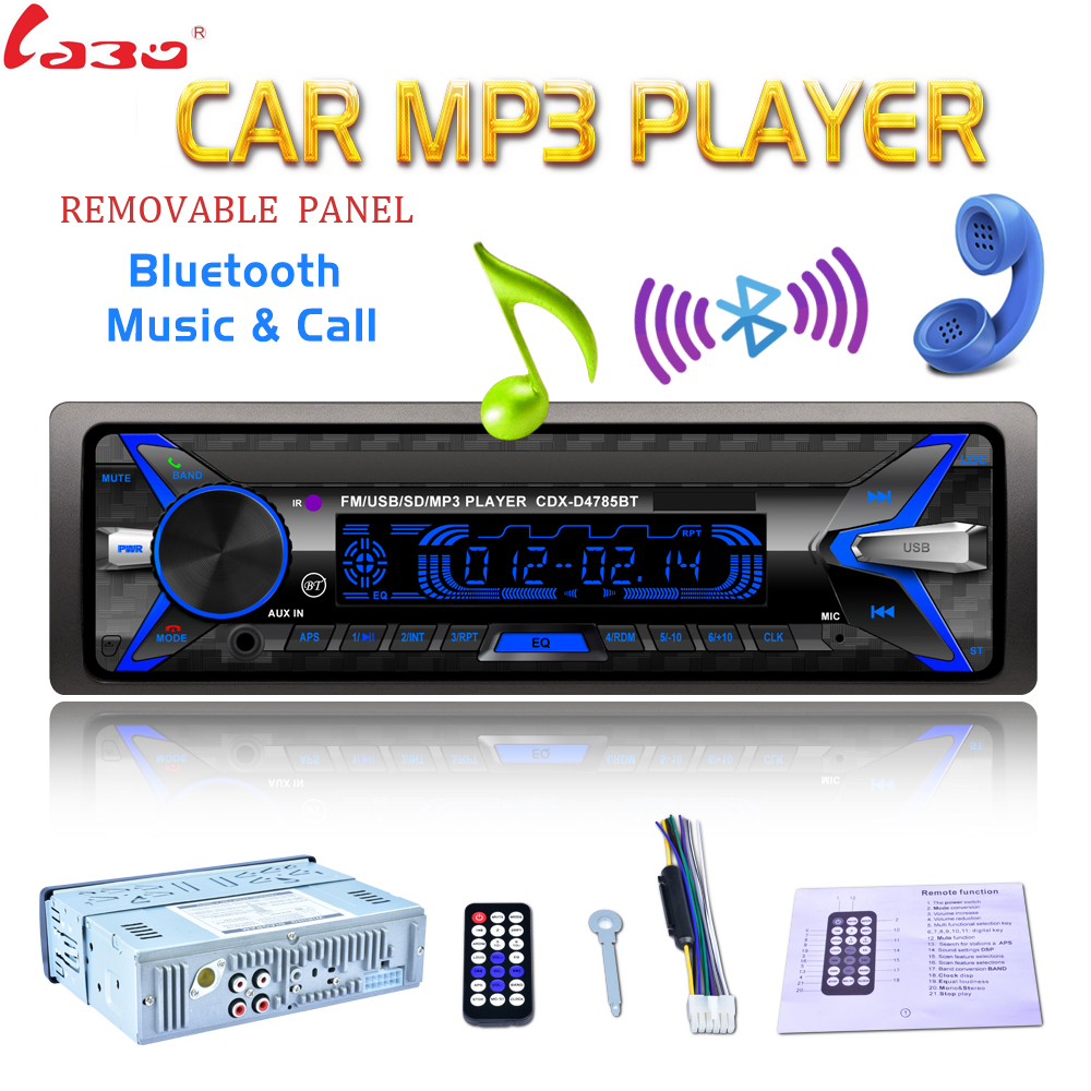 [해외]이동식 패널 7 색 라이트 자동차 라디오 12V 1 블루투스 오디오 스테레오 MP3 플레이어 지원 SD / FM / USB / AUX/Removable Panel 7 Color Light Car Radio 12V 1 Din Bluetooth Audio Stere