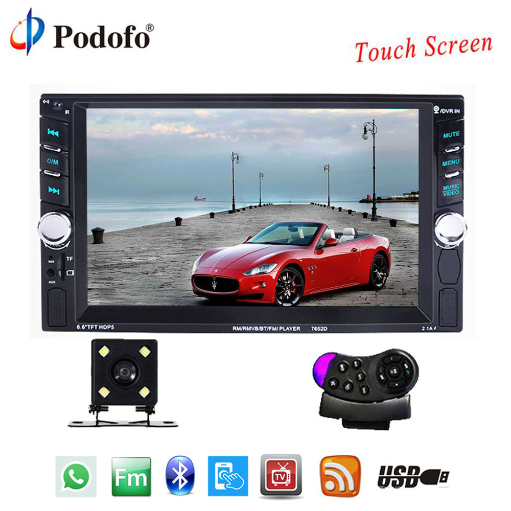 [해외]Podofo 2 Din 자동 오디오 스테레오 플레이어 6.6 & 터치 스크린 자동차 라디오 블루투스 오토 라디오 AUX-IN USB AUX FMRear 뷰 카메라/Podofo 2 Din Auto Audio Stereo Player 6.6& Touch Sc