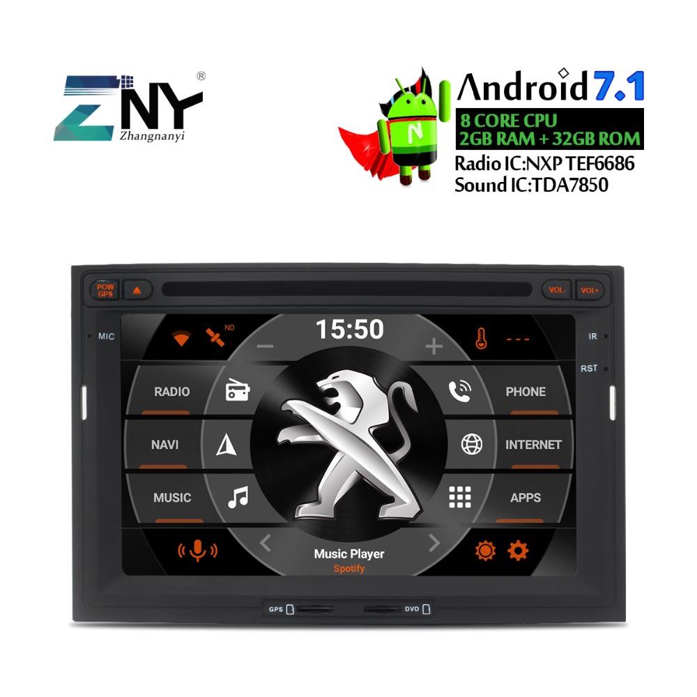 [해외]? ? ???? ?? 7.1 차량용 DVD 플레이어 헤드 유닛 8 코어 CPU Peugeot 용 3008 5008 자동 라디오 RDS 스테레오 GPS Glonass NAVI Bluetooth 2GB + 32GB/안드로이드 7.1 Car DVD Player Hea
