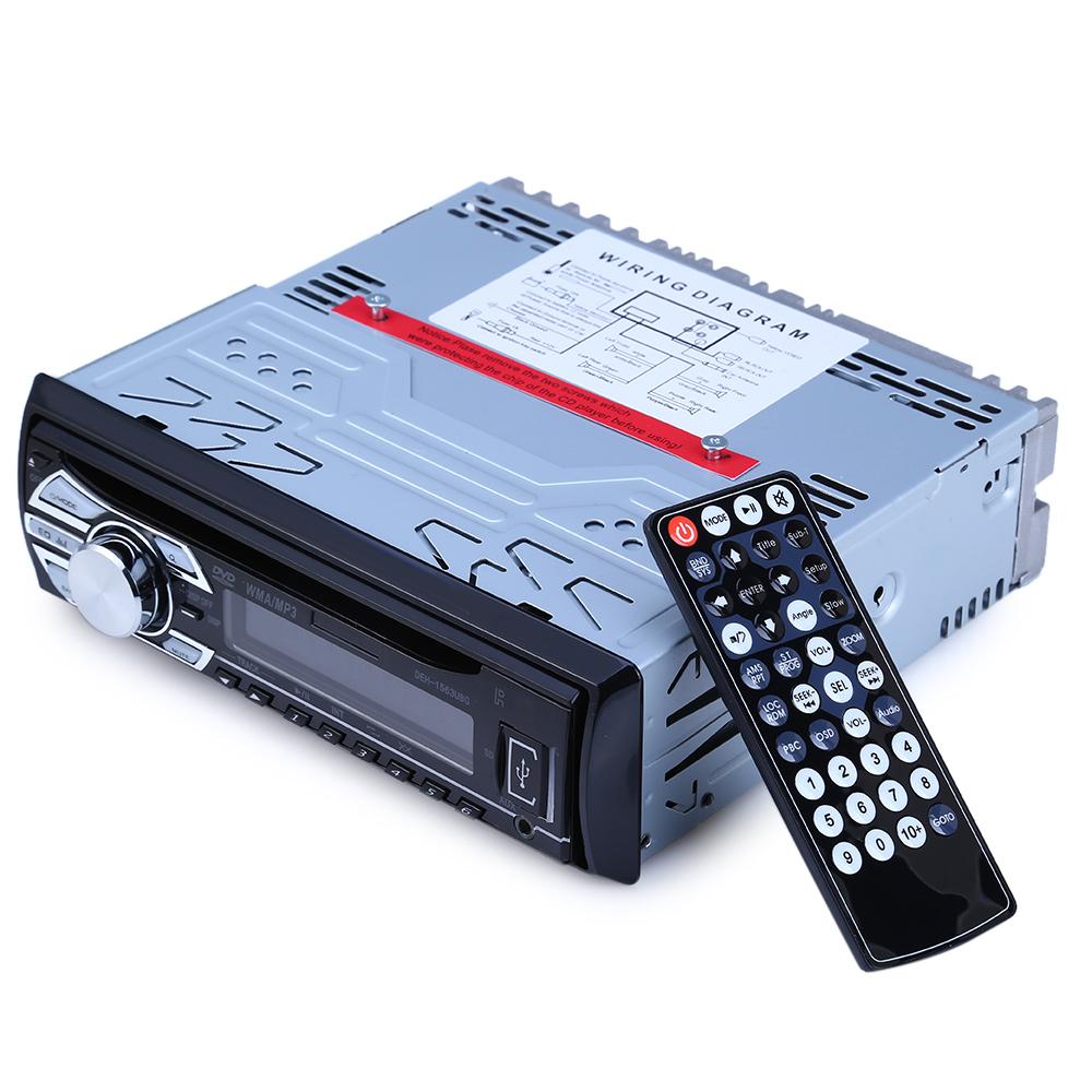 [해외]1563U FM 자동차 라디오 12V 자동 오디오 입체 음향 MP3 선수 LCD 디지털 방식으로 전시 지원 SD AUX USB DVD VCD CD Player 원격 제어/1563U FM Car Radio 12V Auto Audio Stereo MP3 Player