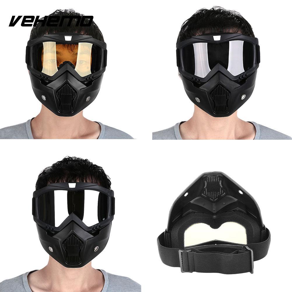 <span style=''>[해외]Vehemo 모듈 식 착탈식 고글 및 입 필터 오픈 페이스 오토바이 하프 헬멧/Ve..</span>