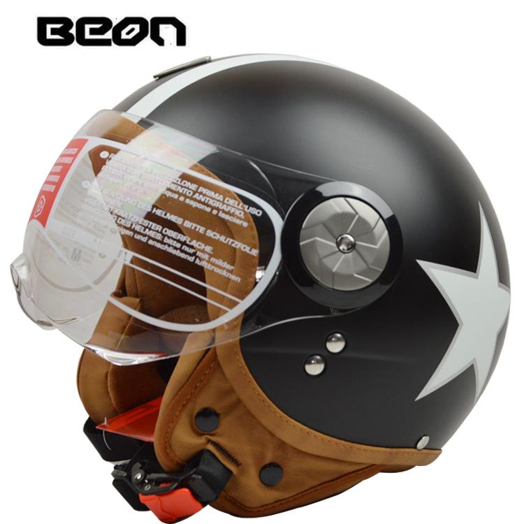 <span style=''>[해외]BEON B110 오픈 페이스 3/4 빈티지 오토바이 헬멧 오토바이 캐스 코 커 테..</span>