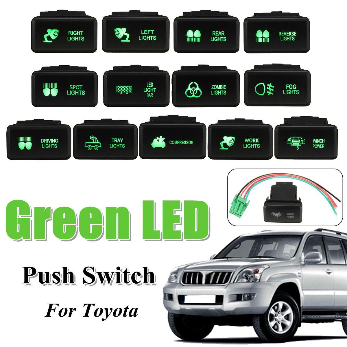 12V 녹색 LED 푸시 스위치 5 핀 On Off 버튼 레이저 w/커넥터 와이어 Toyota Prado HiAce Hilux Landcruiser 1998-2009