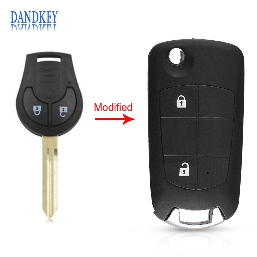 [해외]Dandkey 2 Button Car Folding Flip Key Case Shell For Nissan Sunny Versa Sylphy Tiida Modified Remote Blank Key Cover NSN14 Blade/Dandkey 2 Button