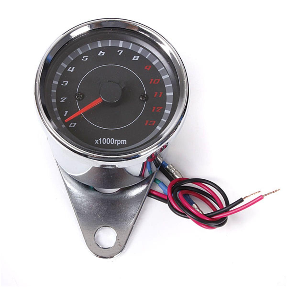 12 v 60mm 실버 오토바이 속도계 타코미터 주행 거리계 rev 카운터 0-13000 rpm