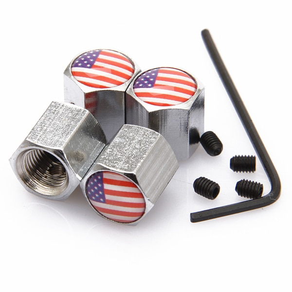 [해외]4Pcs/Set USA US  Flag Logo Anti-theft Valve Caps Silver Wheel Tire Stem Air Caps Auto Styling For Cadillac Dodge Ford Chrysler/4Pcs/Set USA US  Fl