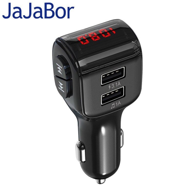 Jajabor 블루투스 차량용 키트 핸즈프리 FM 송신기 무선 블루투스 5.0 스테레오 음악 재생 자동차 MP3 플레이어 3.1A USB 차량용 충전기