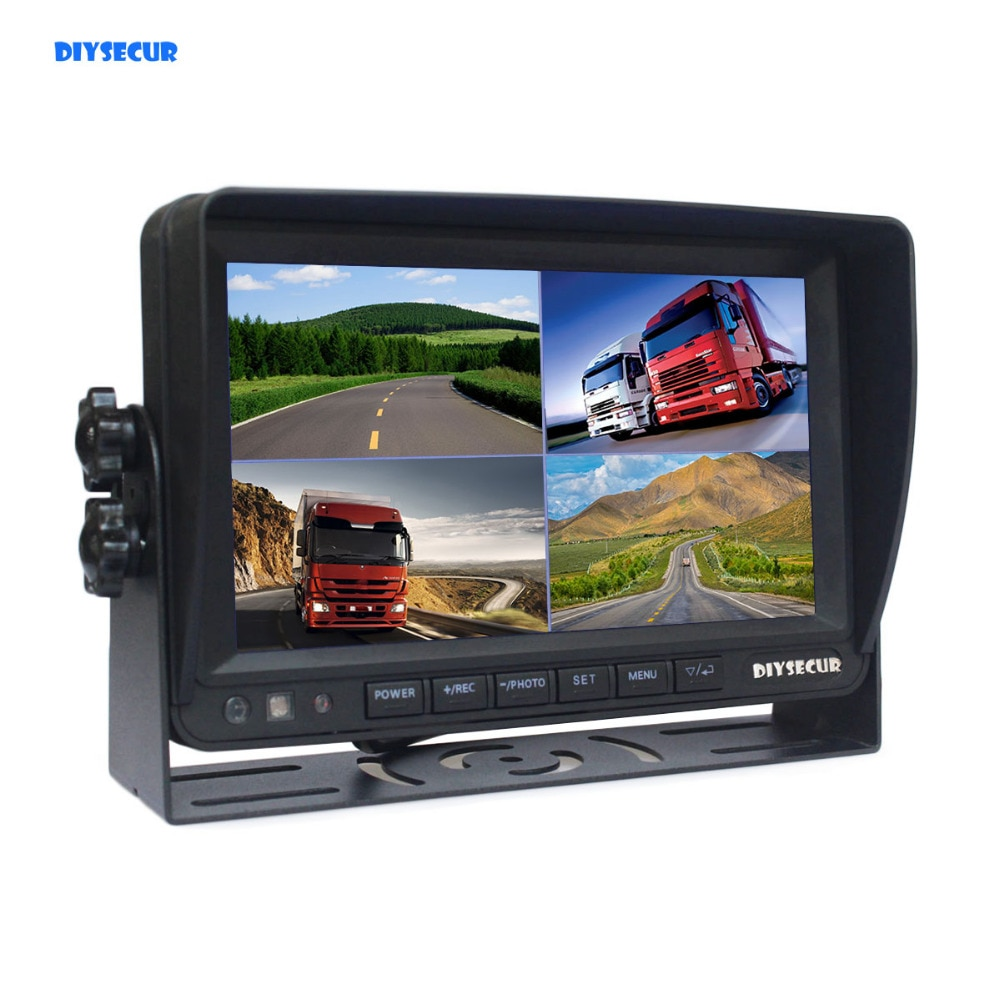 [해외]DIYSECUR  7 Inch 4 Split Quad Display Color Rear View Monitor Car Monitor Support SD Card Video Recording/DIYSECUR  7 Inch 4 Split Quad Display Co