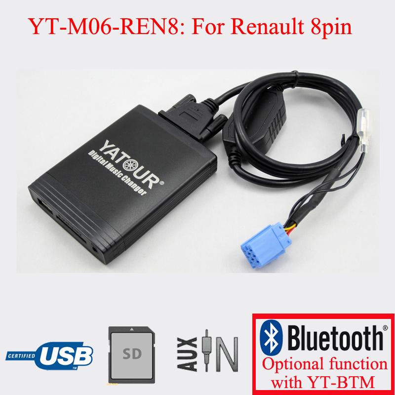 [해외]Yatour digital CD player USB SD AUX decorder player for VDO Renault 8pin Clio Megane Laguna Espace/Yatour digital CD player USB SD AUX decorder pl