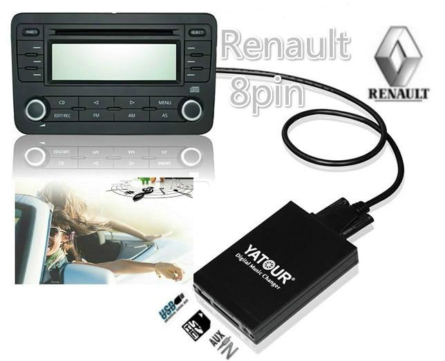[해외]Yatour Digital Music music Changer for Renault Clio Tuner List Tuner Update List VDO Dayton 8-pin USB SD AUX Bluetooth adapter/Yatour Digital Musi