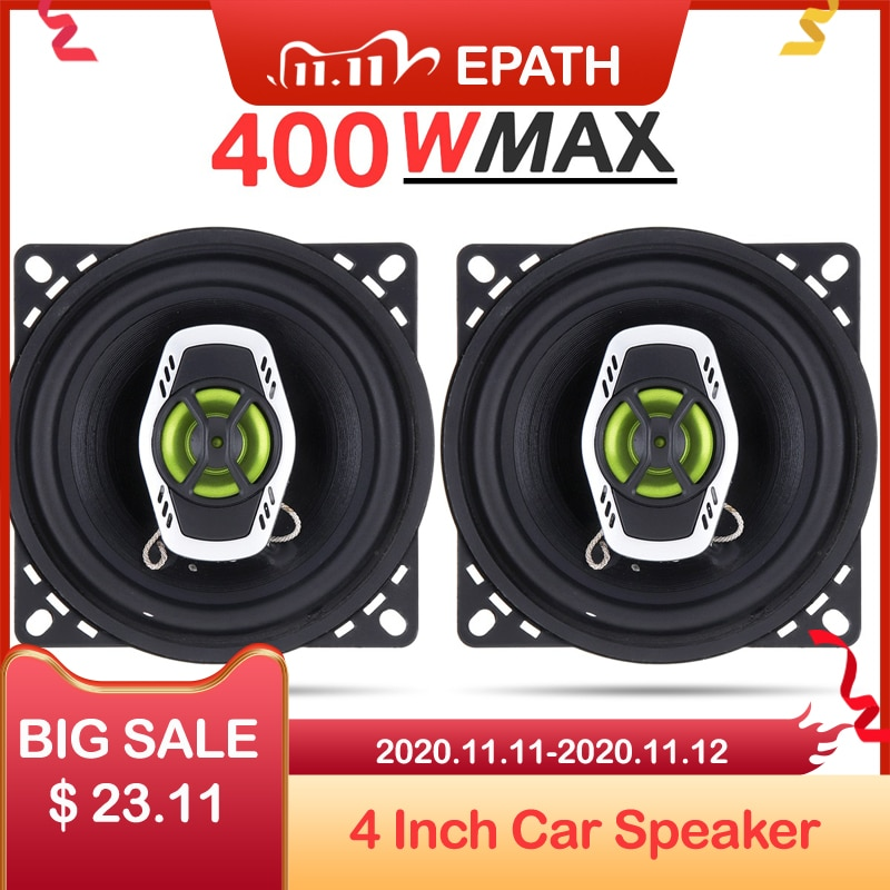 [해외]2pcs 4 Inch 10cm 400W 2 Way Car Coaxial Speaker Auto Audio Music Stereo Full Range Frequency Hifi Speakers Lound Speaker/2pcs 4 Inch 10cm 400W 2 W