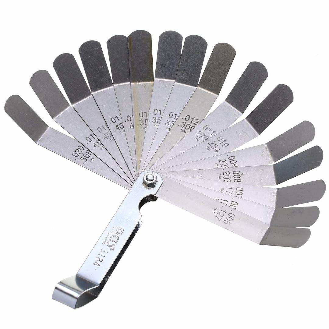 [해외]1 set 16 블레이드 내구성 feeler 게이지 미터법 0.127-0.508mm 밸브 오프셋 feeler 게이지 고강도 측정 도구/1 set 16 블레이드 내구성 feeler 게이지 미터법 0.127-0.508mm 밸브 오프셋 feeler