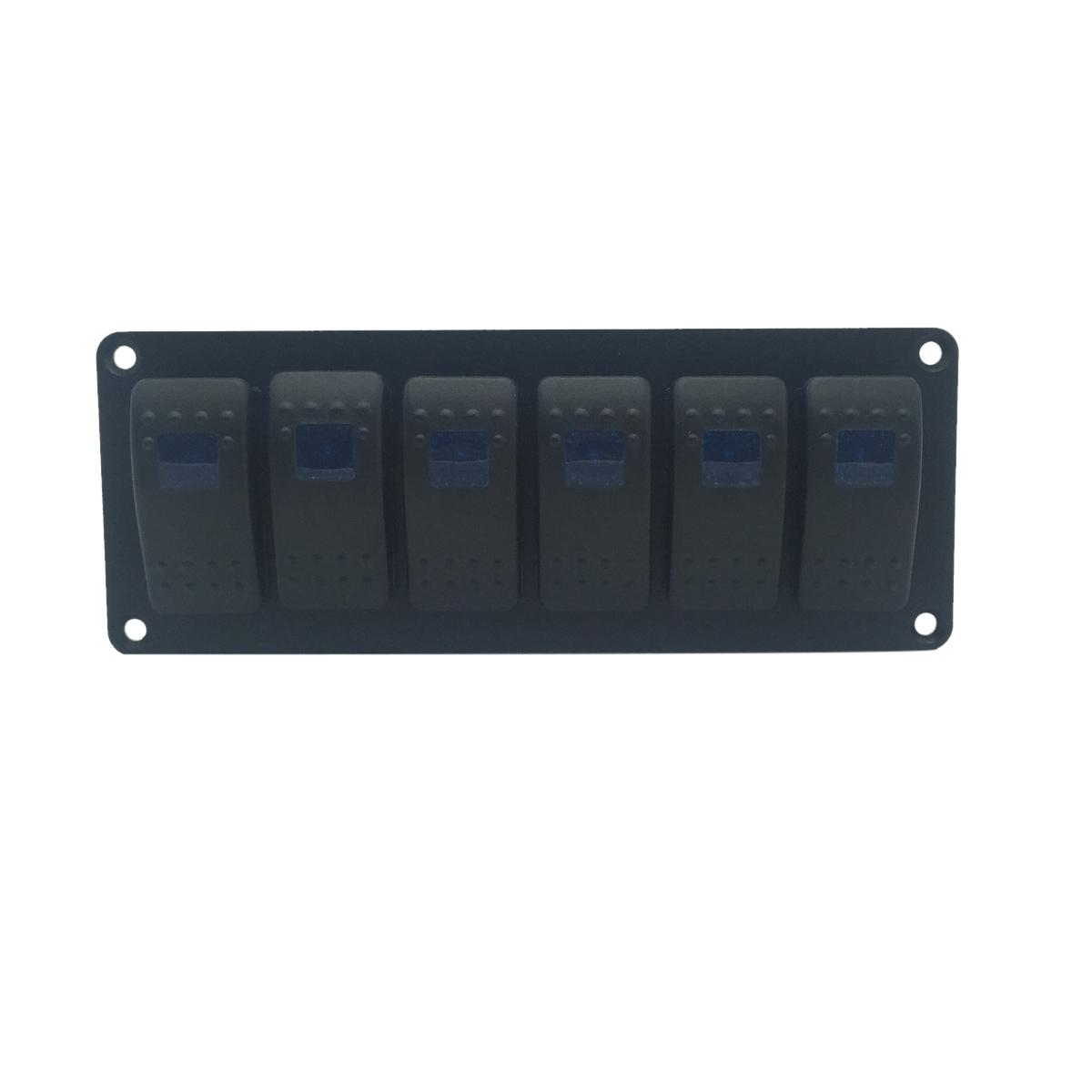 [해외]블루 LED 라이트 6 Gang 12V 24V 자동차 로커 스위치 조합 합금 스위치 패널 자동차 RV 요트 해양 보트 트럭 액세서리/Blue LED light  6 GANG 12V 24V Car Rocker Switch Combination Alloy Swith