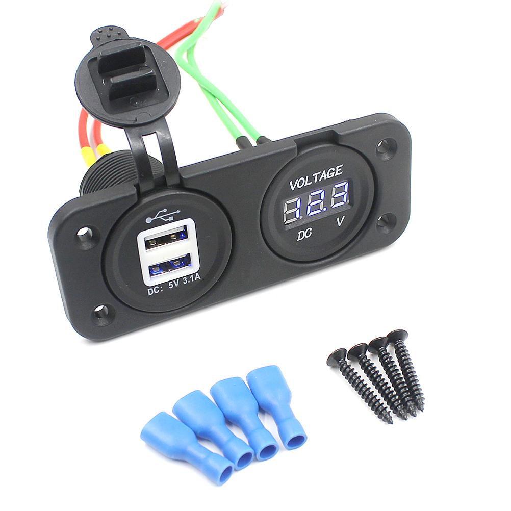 [해외]CS-247 2에서 1 방수 12-24V 차 기관 자전차 보트 듀얼 USB 3.1A 힘 어댑터 충전기 & amp; LED 디지털 전압계 소켓 콤보/CS-247 2-in-1 Waterproof 12-24V Car Motorcycle Boat Dual USB