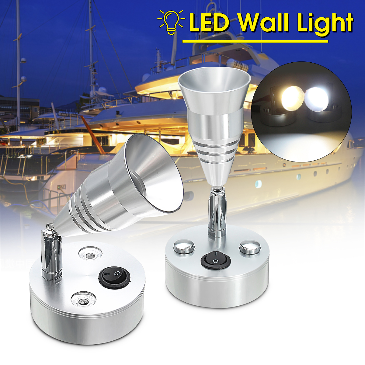 [해외]Autoleader LED 침대 옆 독서등 램프 12V 3W AdjustableSwitch 요트 모터 홈 따뜻한 화이트 360 용 캐러밴 / 트럭/Autoleader LED Bedside Reading Light Lamp 12V 3W AdjustableSwitc