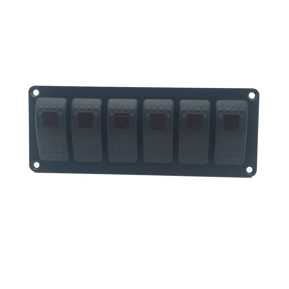 [해외]12V 24V 6 갱단 레드 LED 라이트 자동차 로커 스위치 조합 합금 RV 요트 조선 보트 트럭을패널을 전환/12V 24V 6 GANG Red LED light Car Rocker Switch Combination Alloy Swithes Panel for