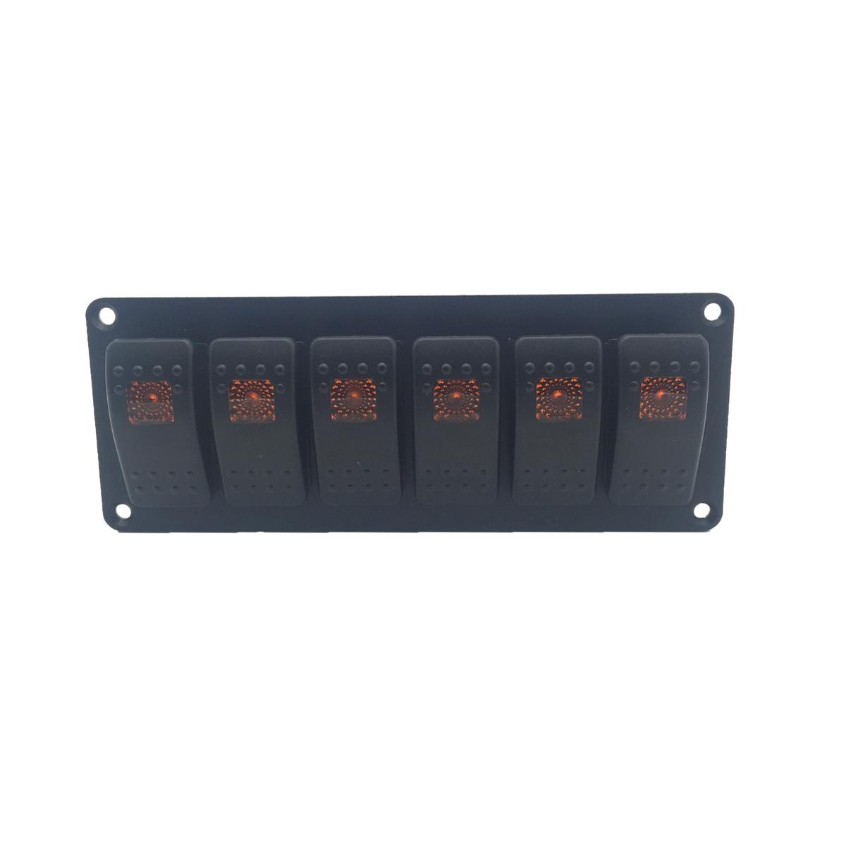 [해외]12V 24V 6 GANG 주황색 LED 라이트 자동차 로커 스위치 조합 알로이 스위치 패널 자동차 RV 용 요트 마린 보트 트럭 액세서리/12V 24V 6 GANG Orange LED light Car Rocker Switch Combination Alloy