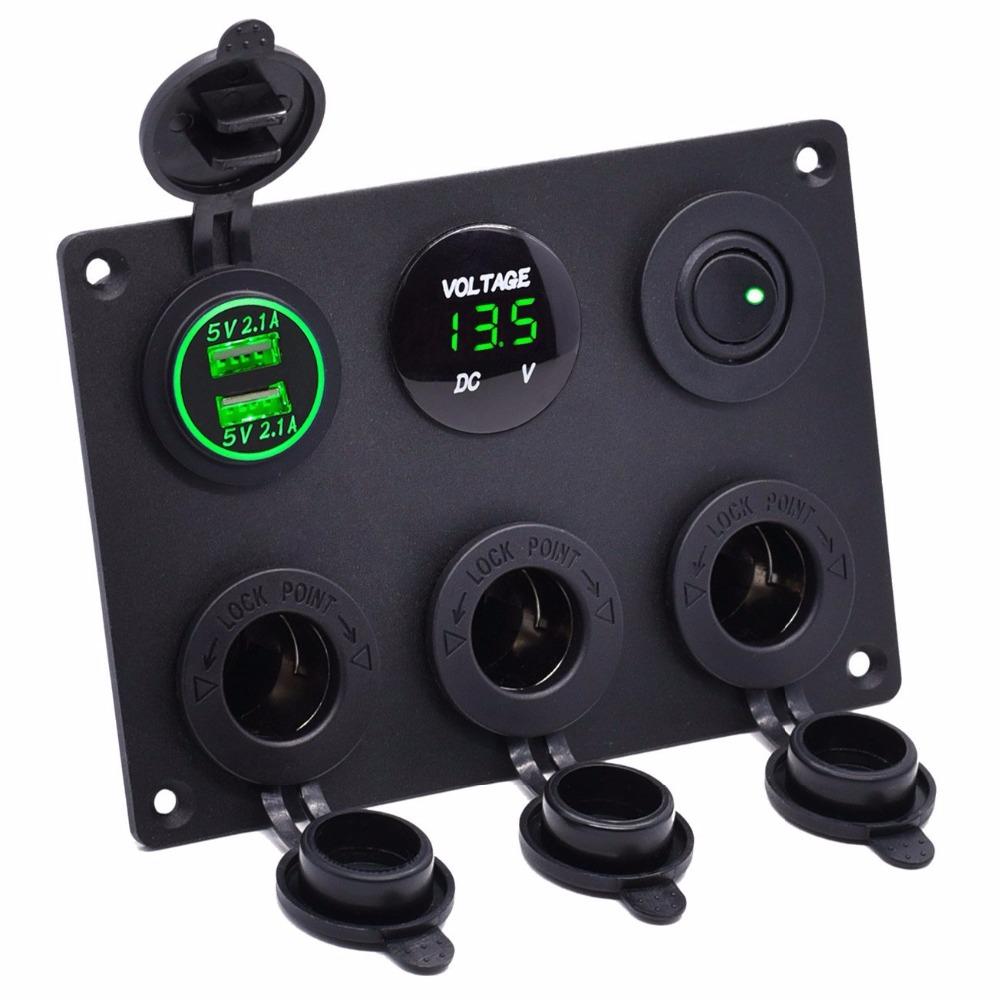 [해외]듀얼 USB 충전기 2.1A LED 전압계 12V 시가 라이터 전원 콘센트 어댑터 스위치 자동차 해양 보트 RV (녹색)/Dual USB Charger 2.1A LED Voltmeter 12V Cigarette Lighter Power Outlet Adapter