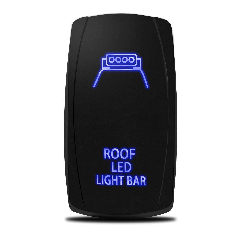 [해외]레이저 지붕 LED 라이트 바 On-Off 로커 SwitchJumper 와이어, 5 핀, 20 Amp, 12V LED 조명, 파란색/Laser Roof LED Light Bar On-Off Rocker SwitchJumper Wire, 5 Pin, 20 Amp,