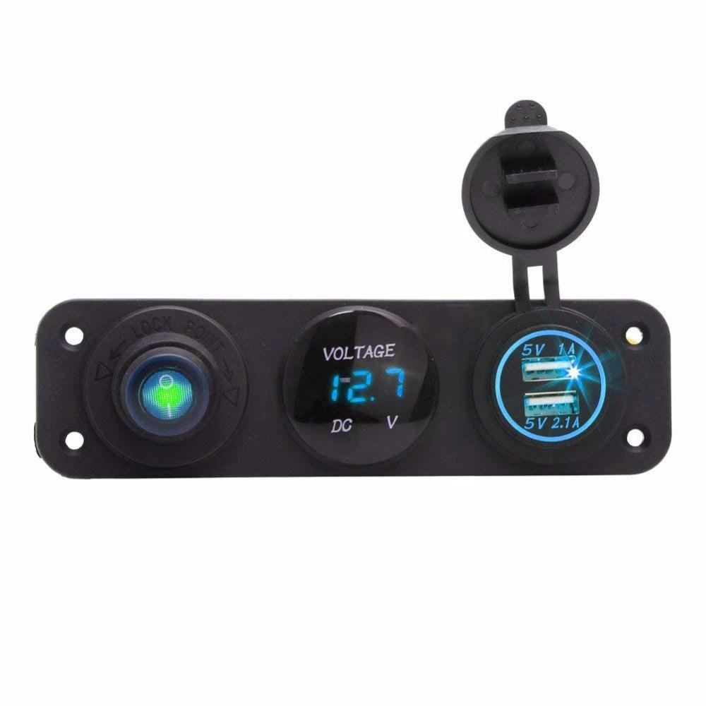 [해외]12V LED Voltmeter 5V 3.1A 자동차 듀얼 USB 충전기 어댑터 로커 스위치 패널 (파란색)/12V LED Voltmeter 5V 3.1A Car Dual USB Charger Adapter Rocker Switch Panel (Blue)