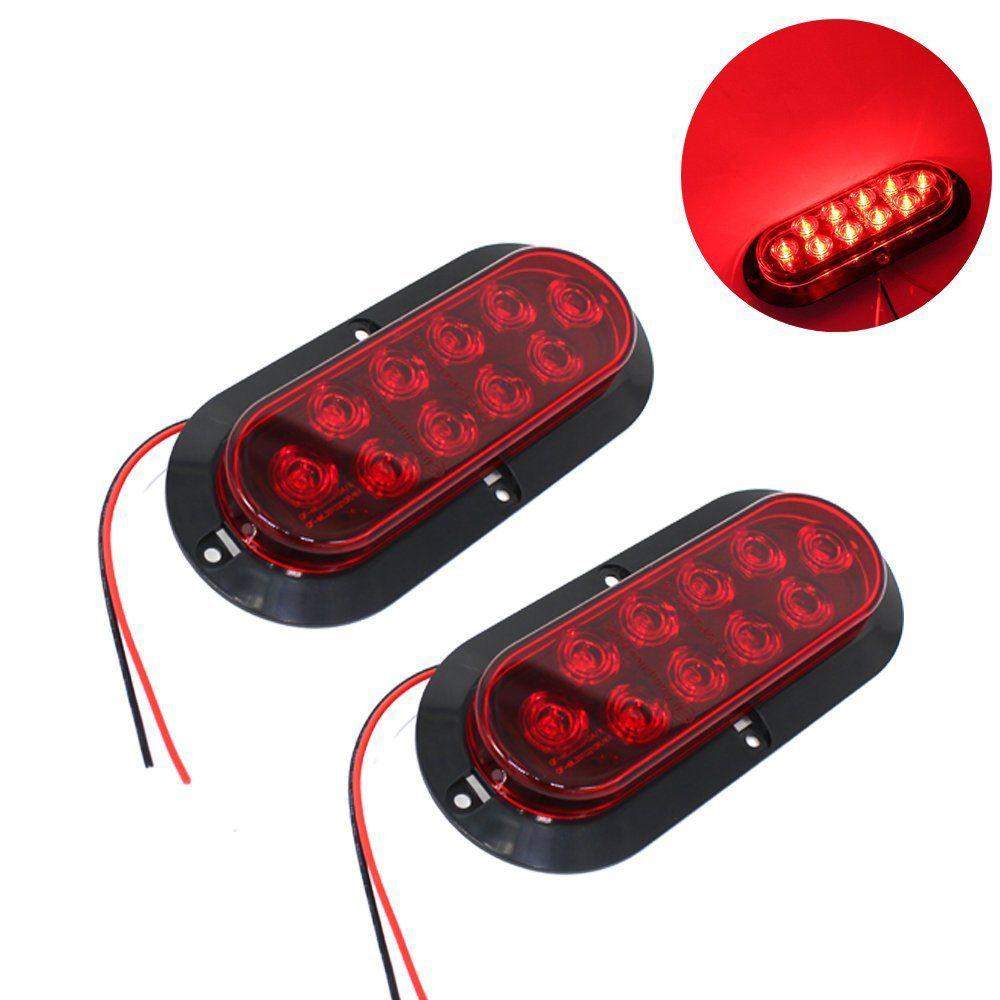 [해외]2X 10LED 6 & 붉은 타원형 표면 마운트 브레이크 중지 테일 라이트 자동차 트럭 트레일러 세트/2x 10LED 6& Red Oval Surface Mount Brake Stop Tail Light Car Truck Trailer Set
