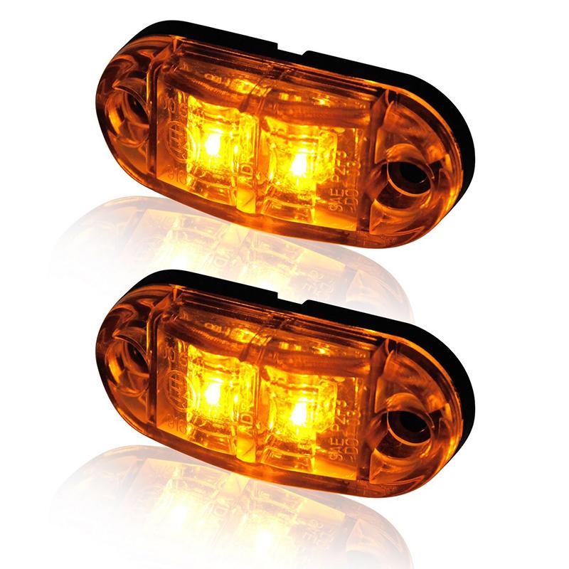 [해외]10x 2 LED 옐로우 사이드 자동차 마커 조명 트럭 LED 통장 조명을 밝히는/10x 2 LED Yellow Side Car Marker Lights Truck LED Turning Lamp Clearance Lights