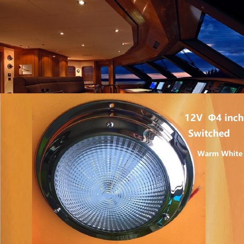 [해외]12v DC LED 천장 조명 4 & 인테리어 요트 보트에 대 한 램프 해양 오두막 지붕 조명 바다 드라이브 RV 캠핑 장비 여행 예고편 따뜻한/12v DC LED Ceiling Light 4& interior Down Lamp for Yacht Boat