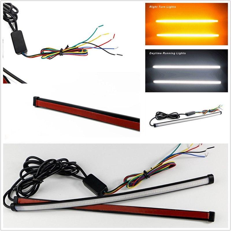 [해외]2pcs 자동차 DRL 순차적 차례 신호 LED 빛 스트립 튜브 스위치 백 60cm 흐르는/2pcs Car DRL Sequential Turn Signal LED Light Strip Tube Switchback Flowing 60cm