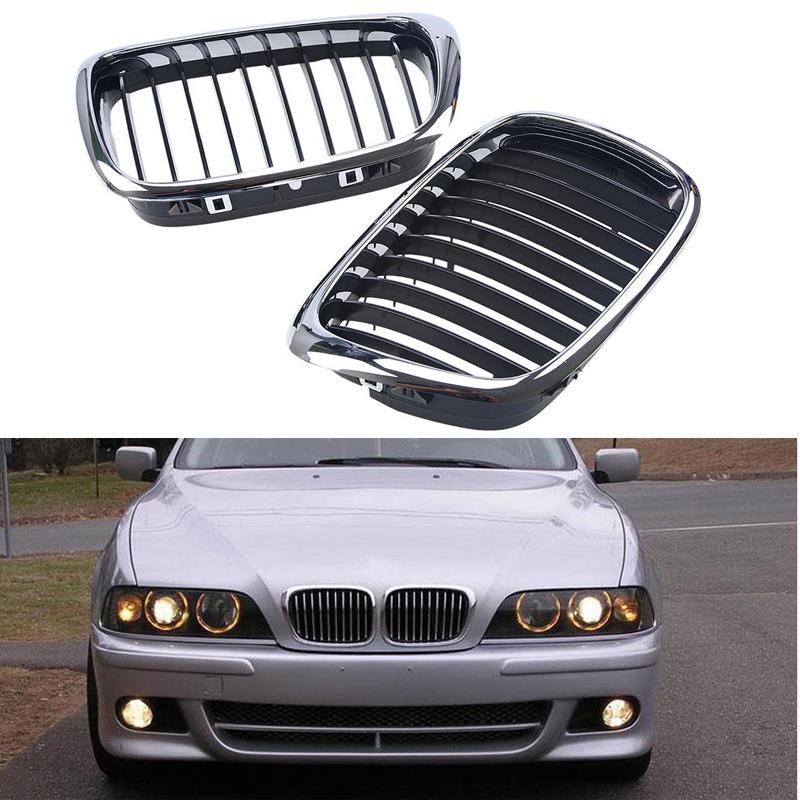 [해외]자동차 스타일링 실버 및 BMW 5 블랙 전면 신장 그릴 그릴 시리즈 E39 1,997에서 2,003 사이의 525i 528i 530i 535i 자동차 액세서리/Car Styling Silver And Black Front Kidney Grilles Grill