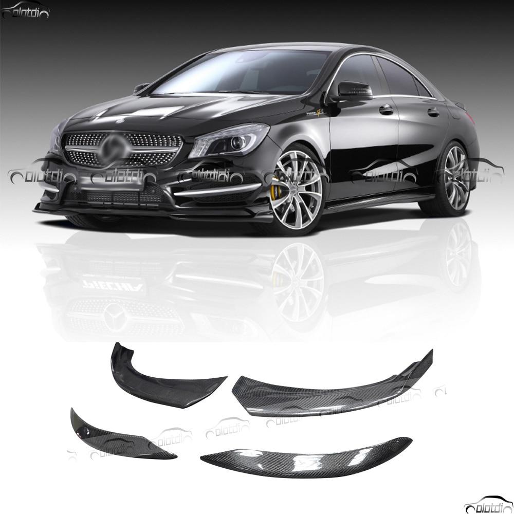 [해외]자동차 스타일링 카본 파이버 사이드 스커트 바디 키트에 프론트 코너 립 메르세데스 벤츠 W117 C117 CLA AMG CLA45 PECHIA 프론트 스플리터/Car Styling Carbon Fiber Side Skirts Bodykits Apron Corne