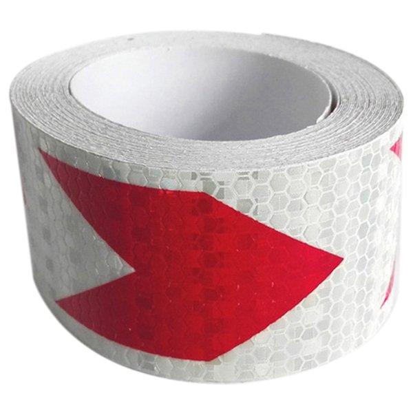 [해외]4 미터 야간 반사 안전 경고 경고 테이프 스트립 스티커, 빨강 - 흰색 화살표/4 Meters Night Reflective Safety Warning Conspicuity Tape Strip Sticker, Red - White Arrows